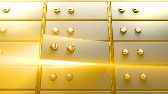 Thumbnail for Safety Deposit box Opened by Two Golden Keys and then a Bright Light Appears