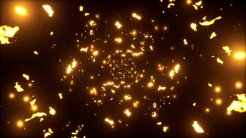 Sparkling Flame Flakes Particle Tunnel 4K 01