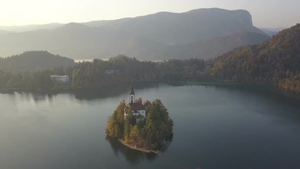 Aerial Video. Flight Over Lake Bled in Slovenia