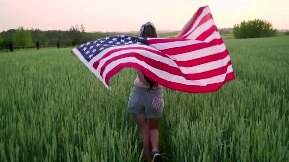 Thumbnail for Running Girl with USA Flag.
