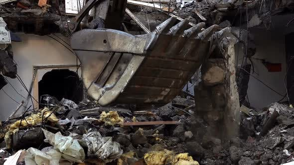 Destroying Old House With Bulldozer Mechanical Arm 26
