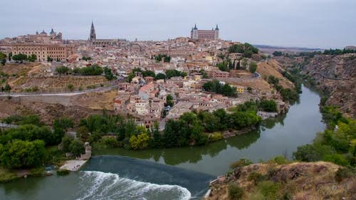 Toledo city on top of the hill time lapse in Castile–La Mancha province, Spain.