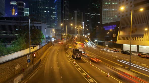 Thumbnail for Hong Kong Night Traffic with Road Repair Work Time Lapse China
