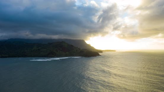 Thumbnail for Sunset Napali Coast Kauai Hawaii Aerial Hyperlapse