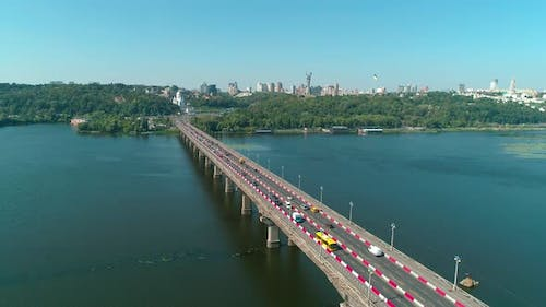 Aerial Drone Footage. Fly Above Paton's Bridge During Reconstruction