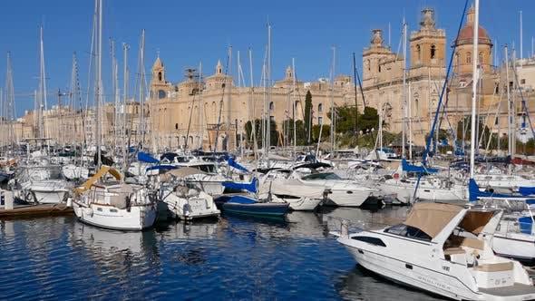 Yachts in Birgu Marina, Malta.