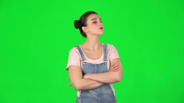 Thumbnail for Lovely Girl Is Very Offended and Looks Away on Green Screen