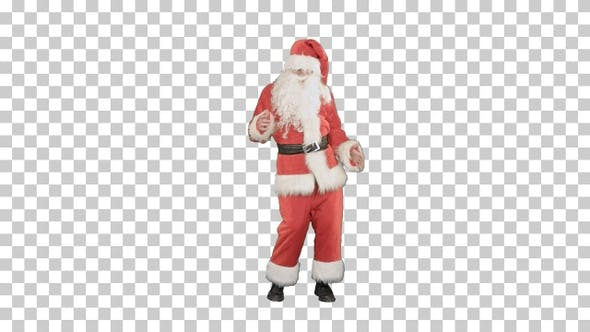 Happy Christmas Santa Claus having fun and dancing, Alpha Channel
