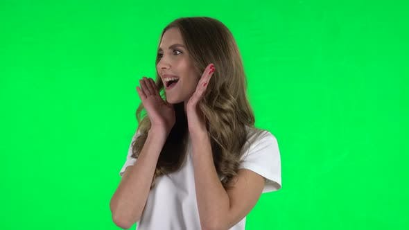 Thumbnail for Lovable Girl Screaming When Calling Someone. Green Screen