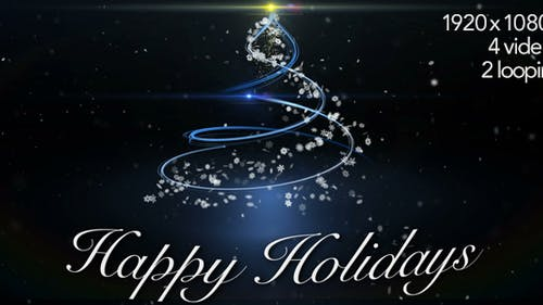 Happy Holidays Greetings by Tree - 4 Video Styles