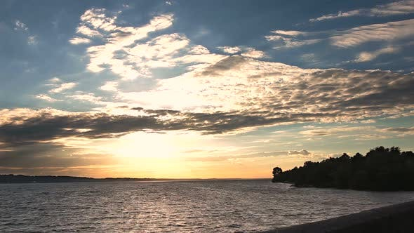 Thumbnail for Beautiful Sunset Above the Sea on Windy Day
