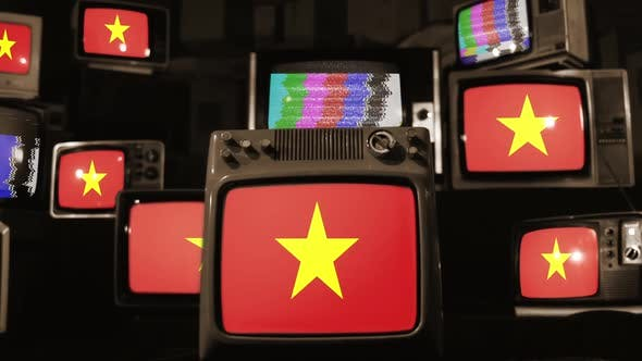 Vietnam flags and retro Televisions.