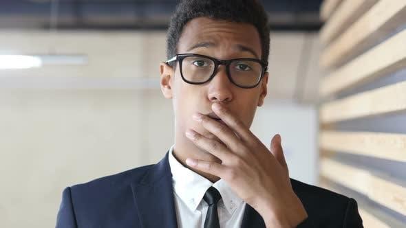 Surprised by Unpleasent News, Black Businessman Portrait