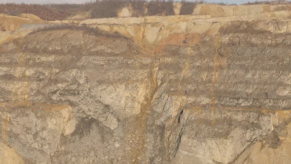 Open-pit mine soil layers 4K 2160p 30fps UltraHD footage - Polluted area with mineral flotation and