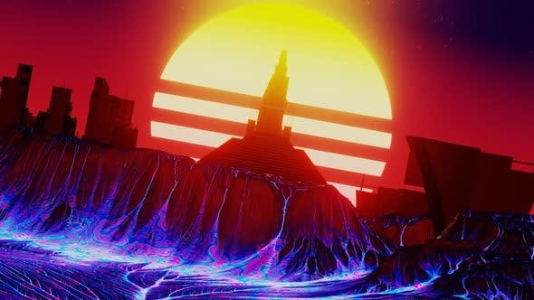 Retro Futurism City with Boiling Lava and Vintage Sun