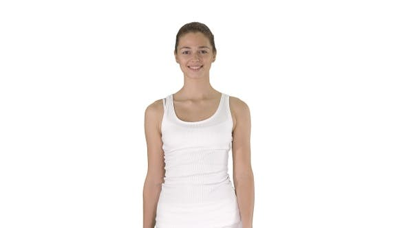 Cover Image for Young woman walking on white background.