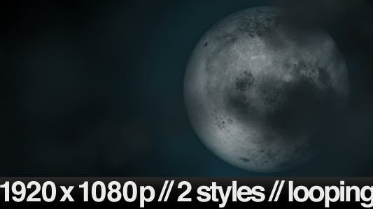 Thumbnail for Full Moon Under Cloudy Sky - 2 Styles Looping