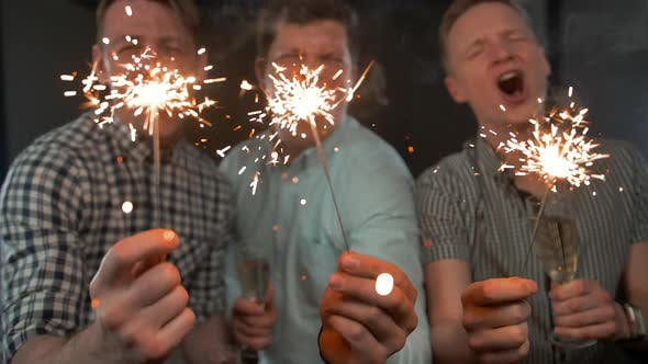 Thumbnail for Sparkles. Birthday Celebrating By Attractive Young Guys