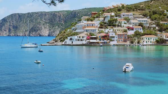 Thumbnail for Cute Greek Village on Kefalonia Island. Luxury Sailing Boat Moored in the Sea Bay, Travel, Adventure