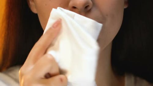 Woman Wiping Mouth With Napkin After Dinner, Etiquette Rules, Good Manners