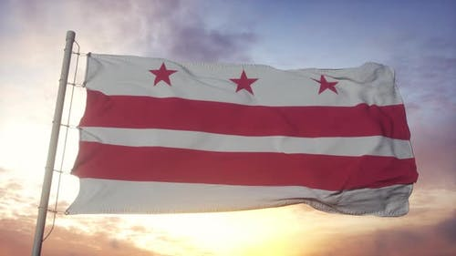 District of Columbia Flag Waving in the Wind Sky and Sun Background