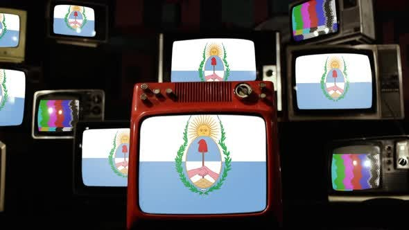 Thumbnail for Flag of Mendoza Province, Argentina, and Retro TVs.