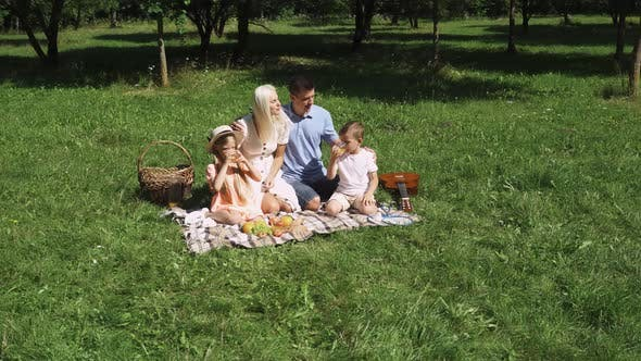 Family Day, Picnic in Nature, Parents and Children Sit on a Blanket, Communicate and Drink Orange