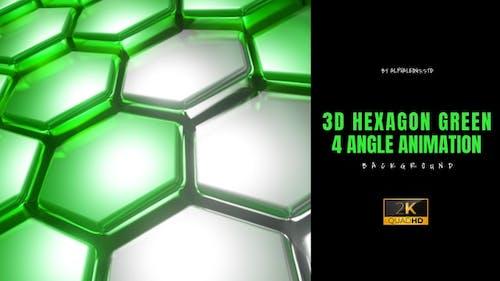 Hexagon 3D Green Two Tone