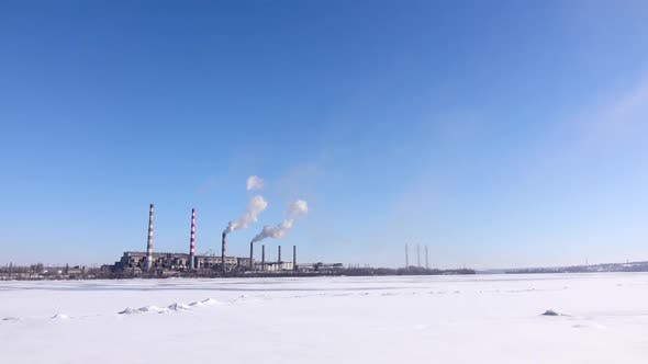Thumbnail for Heavy Industry, Smokestacks Pollute Atmosphere. Industrial Landscape of the Area