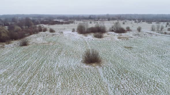 Flight Over the Winter Flat Landscape.