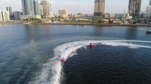 Aerial view of speedboats during the race in Khalid lake in Sharjah.