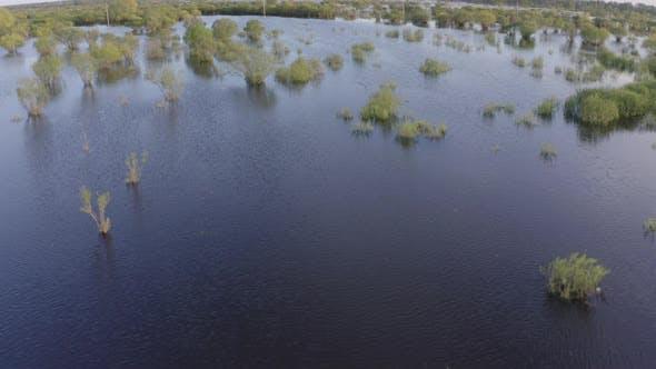 Thumbnail for Aerial Drone Footage of High Water in Spring Time