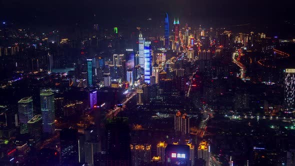 Thumbnail for Timelapse Shenzhen Skyscrapers with Advertising Illumination