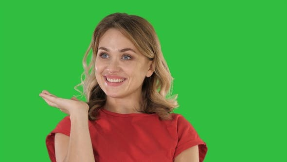 Thumbnail for Excited Woman with an idea on a Green Screen, Chroma Key.