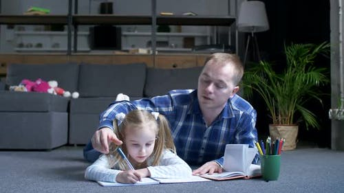 Home Schooling of Helpful Dad and Little Daughter