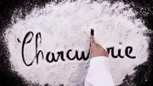 Thumbnail for Salt Writing on Black Surface  Charcuterie