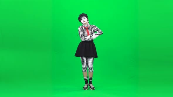 Mime Girl Shaking Baby, Looking Exhausted. Chroma Key. Full Length.