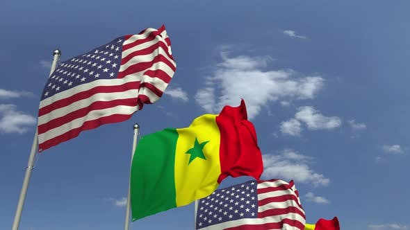 Many Flags of Senegal and the USA