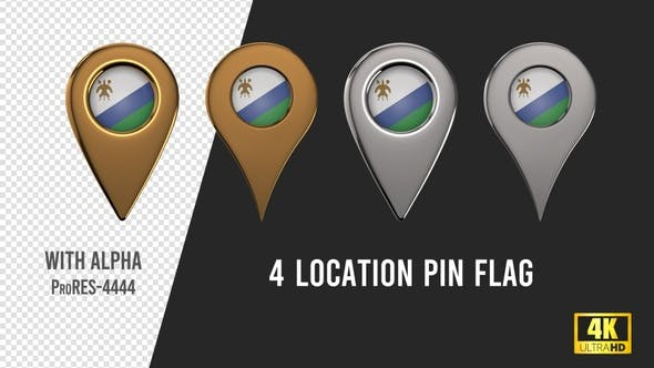 Lesotho Flag Location Pins Silver And Gold