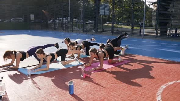 Sporty Slender Girls on Mats Which Doing Fitness Exercises on the Outdoor