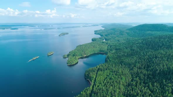 Cover Image for Aerial View of the Lake and Forest in South Finland