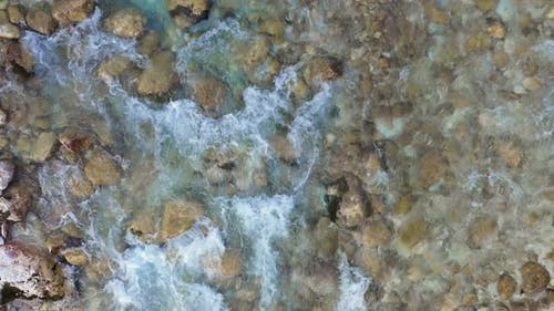 View on The Surface Of A Mountains River Soca at the Slovenia