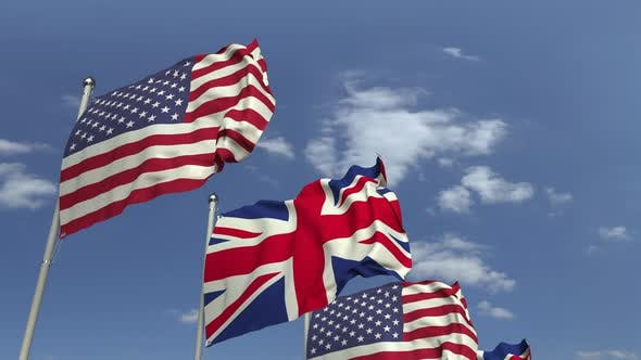 Cover Image for Waving Flags of Britain and the USA on Sky Background
