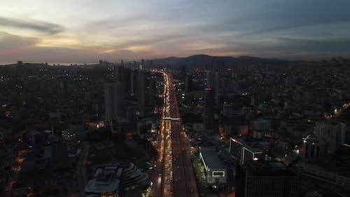 Aerial Drone Nigth Traffic