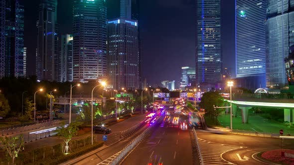 Thumbnail for Shanghai Heavy Street Traffic Timelapse at Night Zoom Out