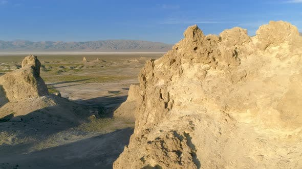 Thumbnail for Flying Over the Desert Terrain of Trona Pinnacles on a Sunny Day
