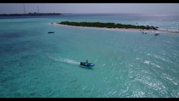 Aerial tourism of paradise resort beach time by shallow ocean and white sandy background of a dayout