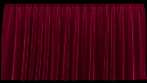 Flying Sideways Red Velvet Curtain with Alpha Channel