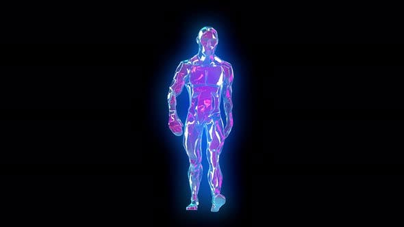 4K Neon walking humanoid with alpha