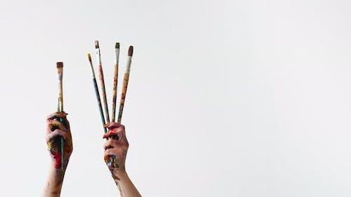 Artist Equipment Creative Hobby Hands Paintbrushes